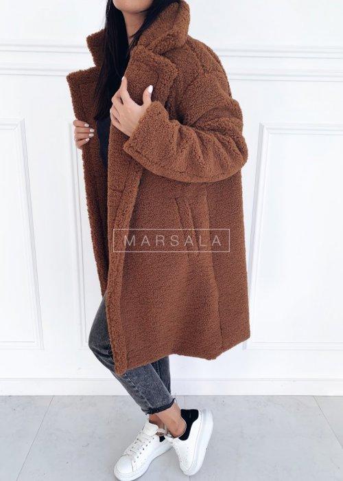 Futrzany/pluszowy płaszcz oversize w kolorze brązowym - MALMO