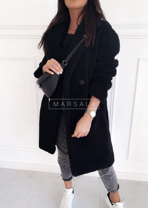 Futrzany/pluszowy płaszcz oversize w kolorze czarnym - MALMO