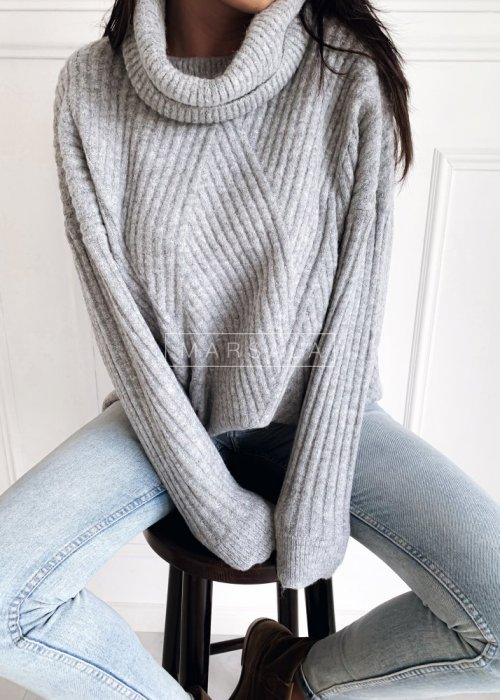 Sweter z golfem prążkowany w kolorze szarym - SAMARA