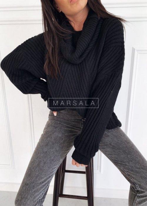 Sweter z golfem prążkowany w kolorze czarnym- SAMARA