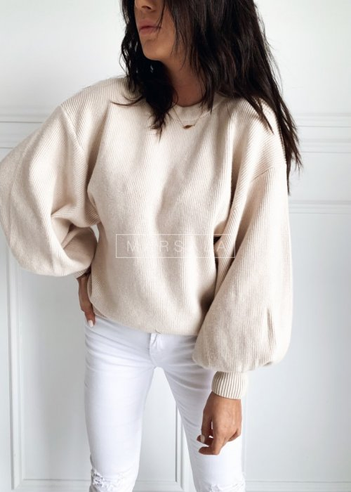 Sweter w kolorze jasnego beżu z bufiastymi rękawami - MILKY