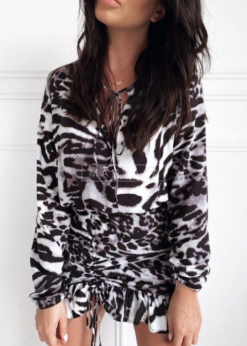 Wielobarwna sukienka koktajlowa z długim rękawem - ELEN PANTERA