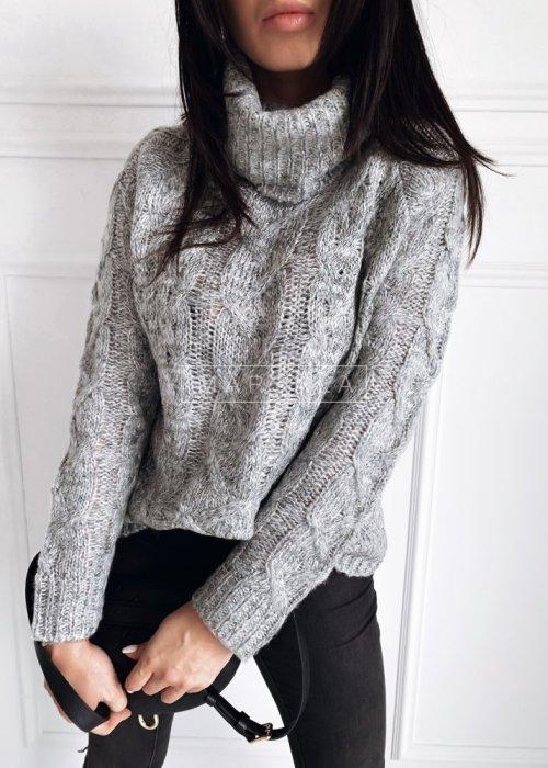 Sweter z golfem w kolorze ciemnoszarym z kolorową nitką - IVETT
