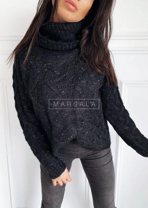 Sweter z golfem w kolorze czarnym z kolorową nitką - IVETT