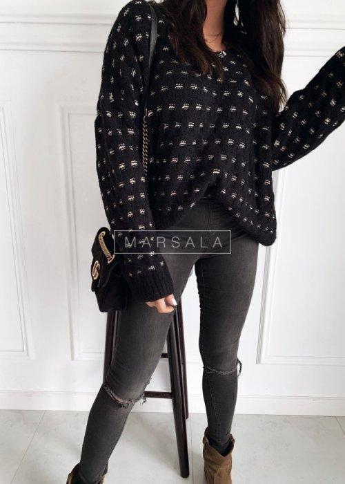 Sweter w kolorze czarnym z połyskującą nitką - CELINE