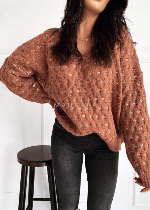 Sweter w kolorze brudnego różu z połyskującą nitką - CELINE