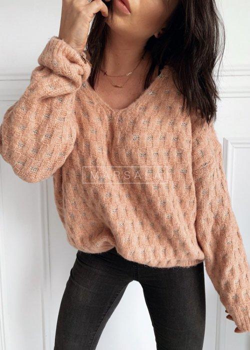 Sweter w kolorze pudrowym z połyskującą nitką - CELINE