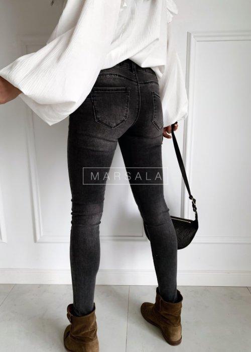 Spodnie jeansy w odcieniu grafitowym SLIM FIT GREY gładkie