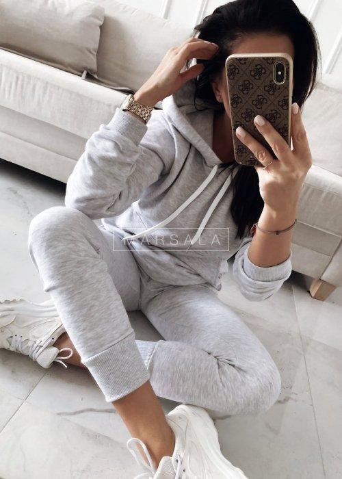 Komplet dresowy bluza + spodnie w kolorze szarym - CASUAL BY MARSALA