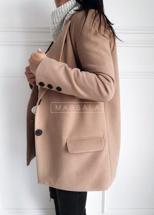 Krótki płaszcz jesienno - zimowyw kolorze beżowym - DIVISION BY MARSALA