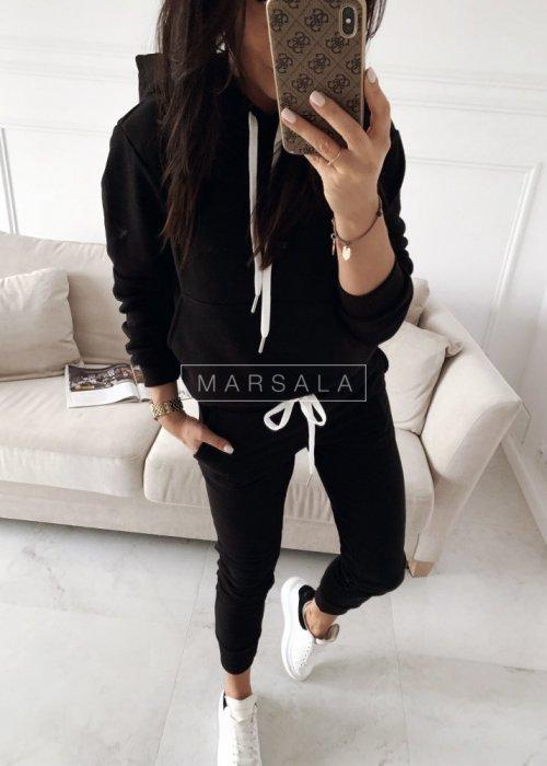 Komplet dresowy bluza + spodnie w kolorze czarnym - CASUAL BY MARSALA