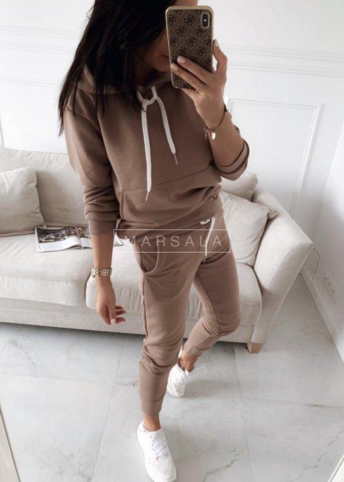 Komplet dresowy bluza + spodnie w kolorze mocca - CASUAL BY MARSALA