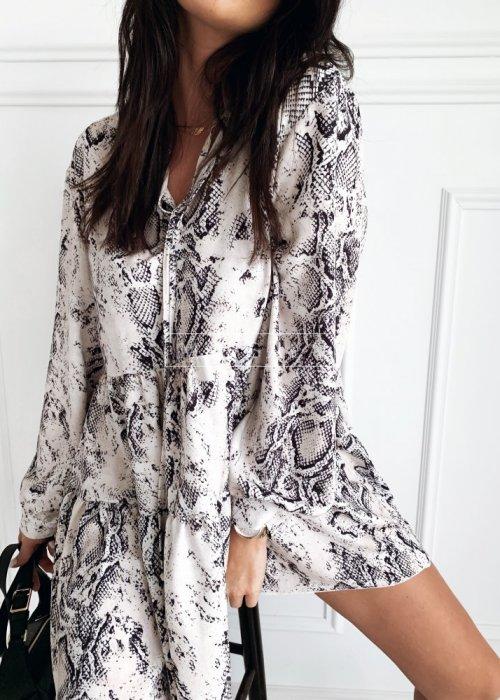 Sukienka koktajlowa w kolorze beżowym z wężowym printem - SHARON