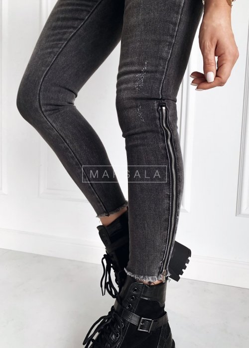 Spodnie jeansowe z długimi z suwakami - SILVER GREY