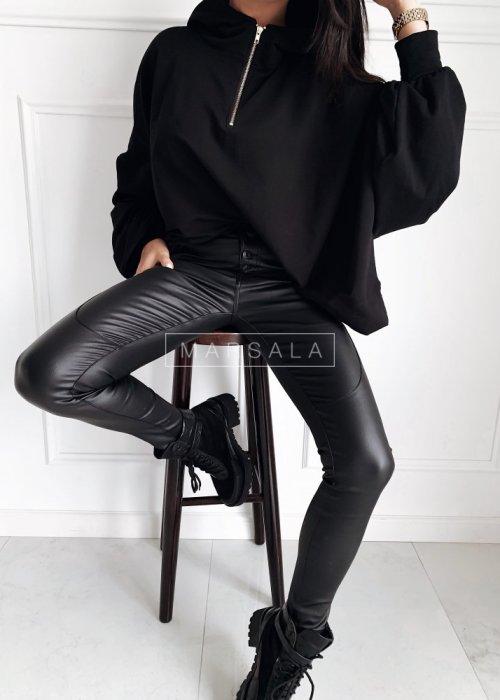 Spodnie dopasowane z przeszyciem woskowane czarne - TANAMI