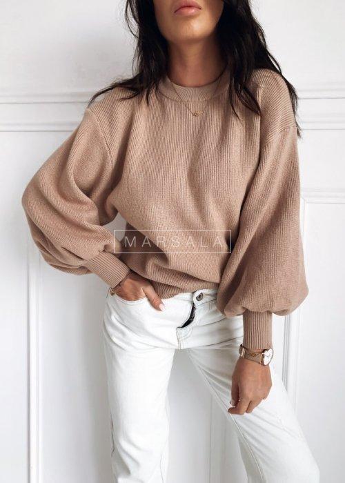 Sweter w kolorze mocca z bufiastymi rękawami - MILKY