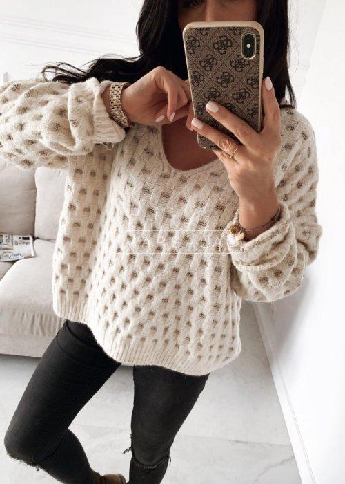 Sweter w kolorze ecru z połyskującą nitką - CELINE