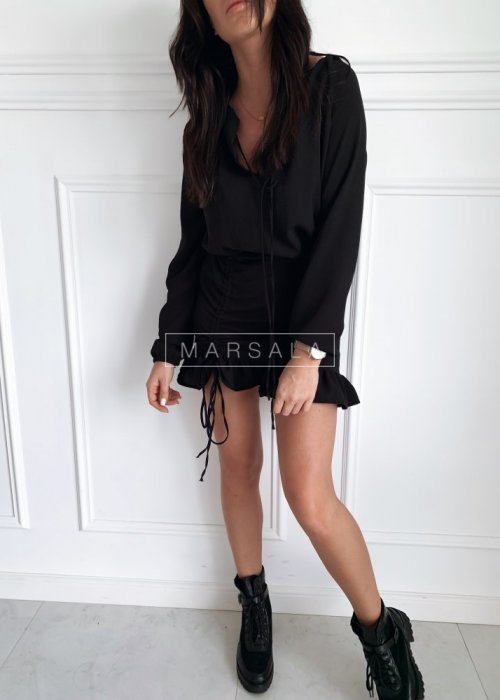 Czarna sukienka koktajlowa z długim rękawem - ELEN BLACK