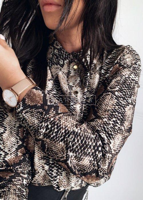 Koszula z nadrukiem wężowej skóry w odcieniu brązu - SNAKE SHIRT BROWN