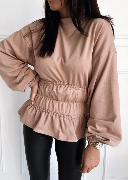 Bluza w kolorze beżowym ze ściągaczami w pasie i falbanką - WAIST