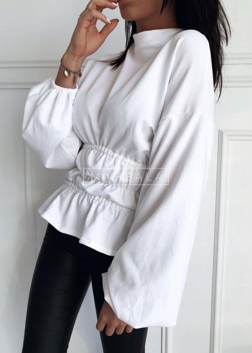 Bluza w kolorze białym ze ściągaczami w pasie i falbanką - WAIST