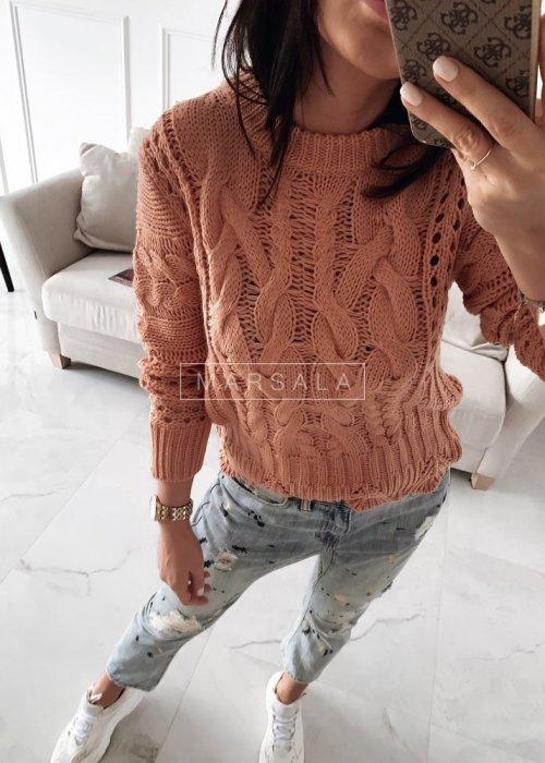 Sweter wykonany ozdobnym splotem różowy - ROSSIE