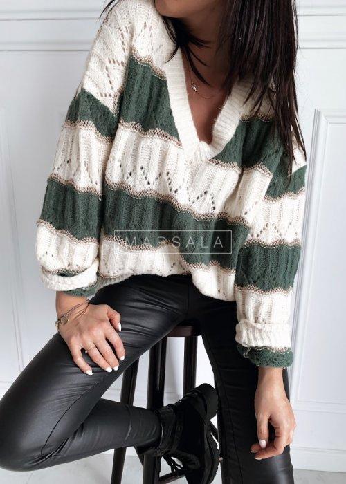 Sweter oversize ażurowy w paski ecru-zieleń - HARVEY