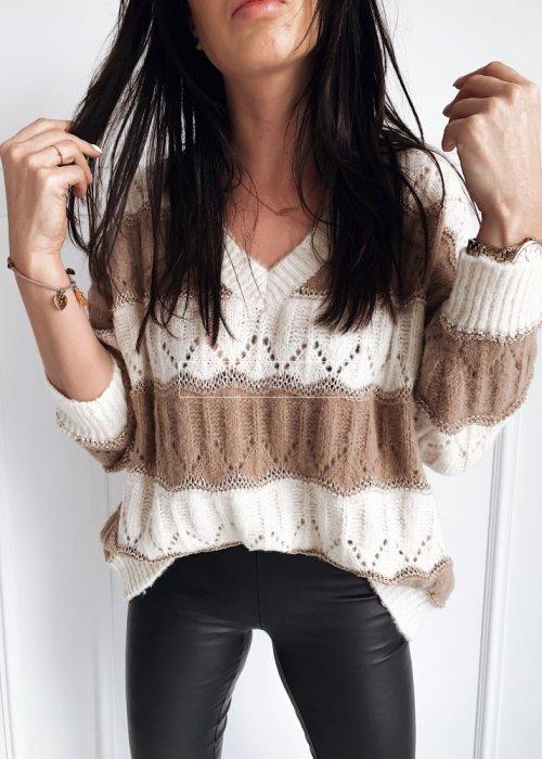 Sweter oversize ażurowy w paski ecru-beż - HARVEY