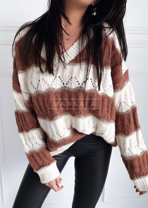 Sweter oversize ażurowy w paski ecru-brąz- HARVEY