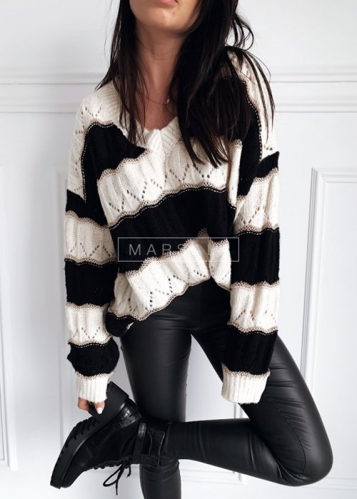 Sweter oversize ażurowy w paski ecru-czarny - HARVEY