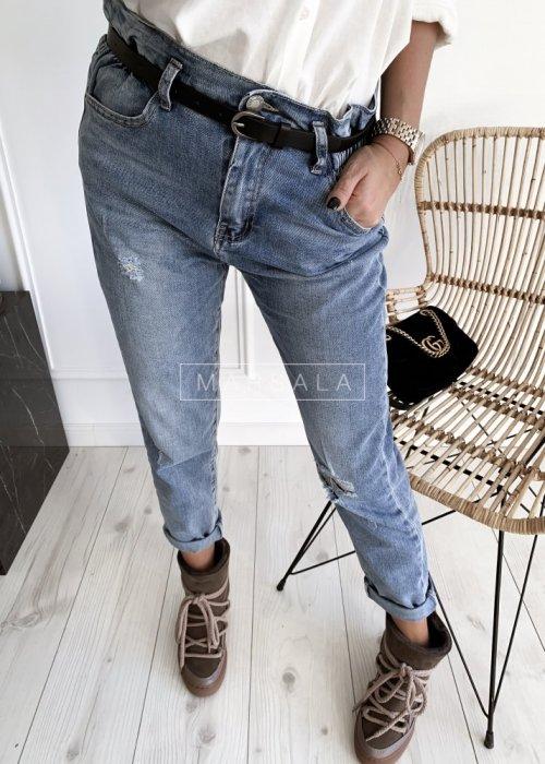 Spodnie SAILOR jasne z przetarciami typu mom fit
