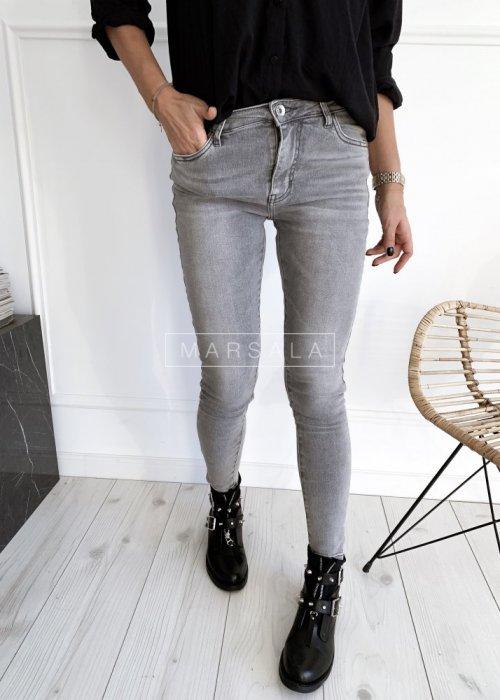 Spodnie jeansy szare slim z paskiem DAYTON skinny