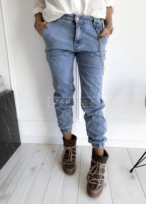 Spodnie jeansowe typu boyfried DIXON jogger jasny jeans
