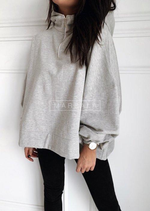 Bluza oversize w kolorze szarym z suwakiem - BAT GIRL