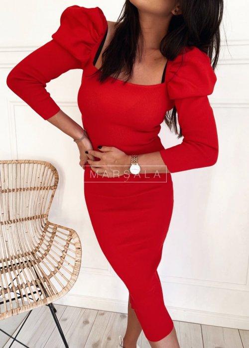 Dopasowana czerwona sukienka za kolano - CARLISLE RED