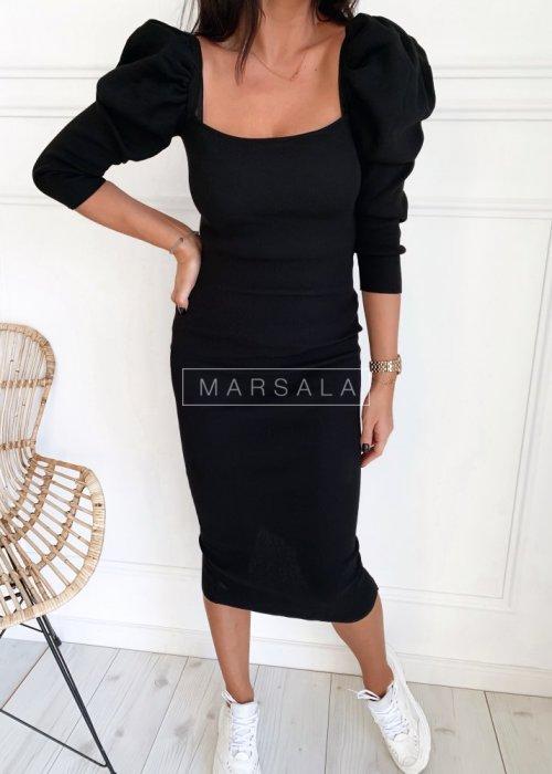 Dopasowana czarna sukienka za kolano - CARLISLE BLACK