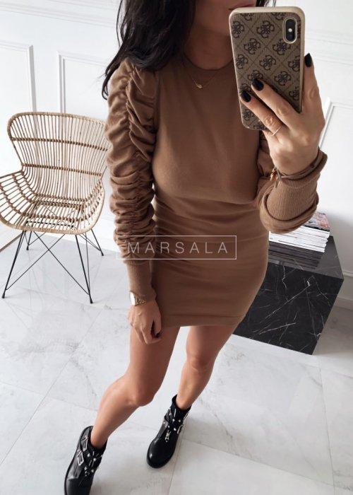 Sukienka/tunika z cienkiej sweterkowej dzianiny w kolorze mocca, ozdobny rękaw -