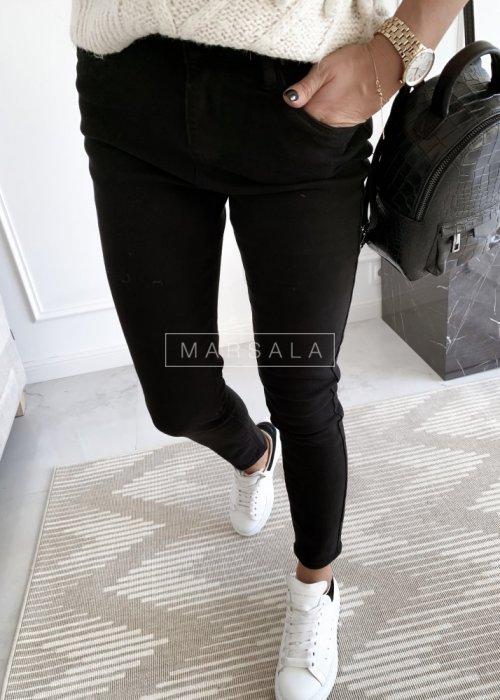 Spodnie jeansowe czarne STRAIGHT LEG z paskiem