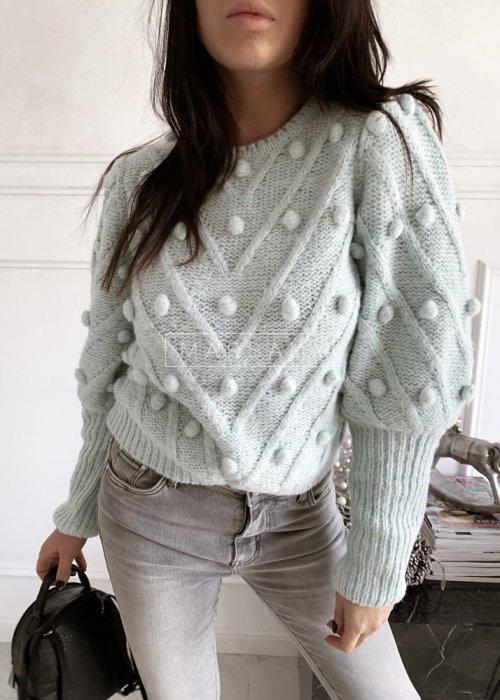 Sweter BARI z kuleczkami w kolorze miętowym