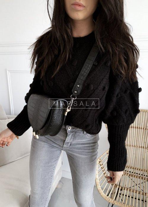 Sweter BARI z kuleczkami w kolorze czarnym