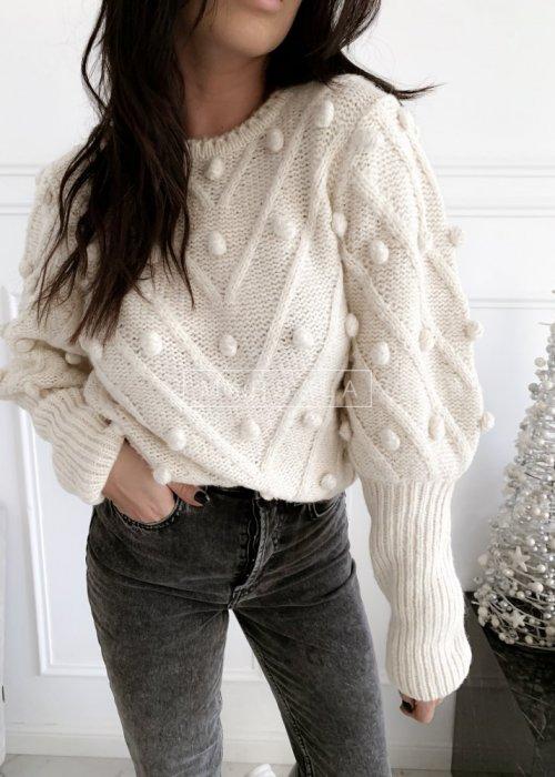 Sweter BARI z kuleczkami w kolorze ecru