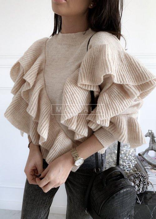 Sweter z asymetrycznymi falbankami beżowy - FLAMENCO