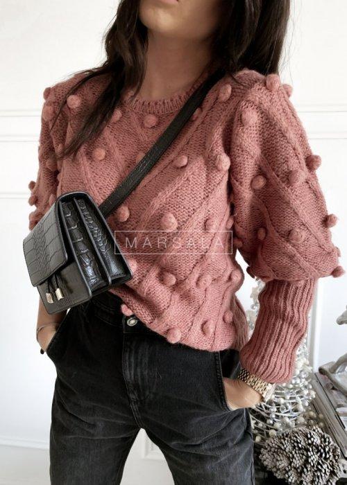 Sweter BARI z kuleczkami w kolorze brudny róż