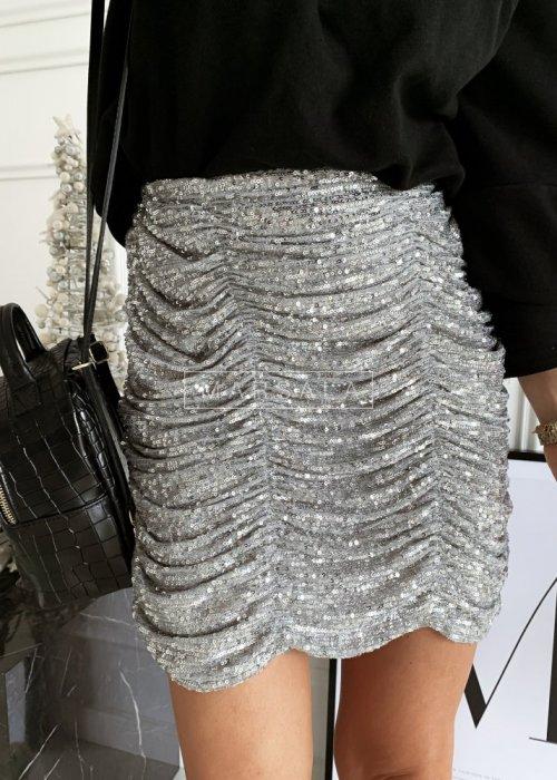 Spódniczka z drapowaniem cekinowa srebrna - GRACE SILVER