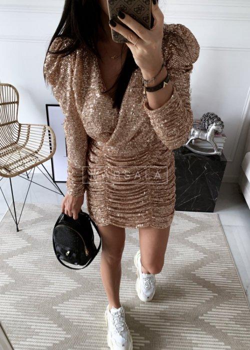 Sukienka z drapowaniem cekinyowa złota - ELISSA ROSE GOLD