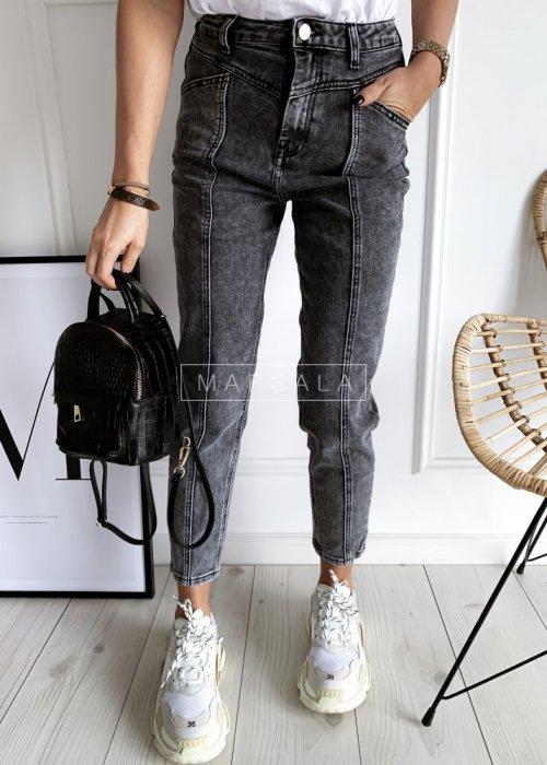 Spodnie jeansowe szare z prostymi nogawkami z przeszyciem - GHOST