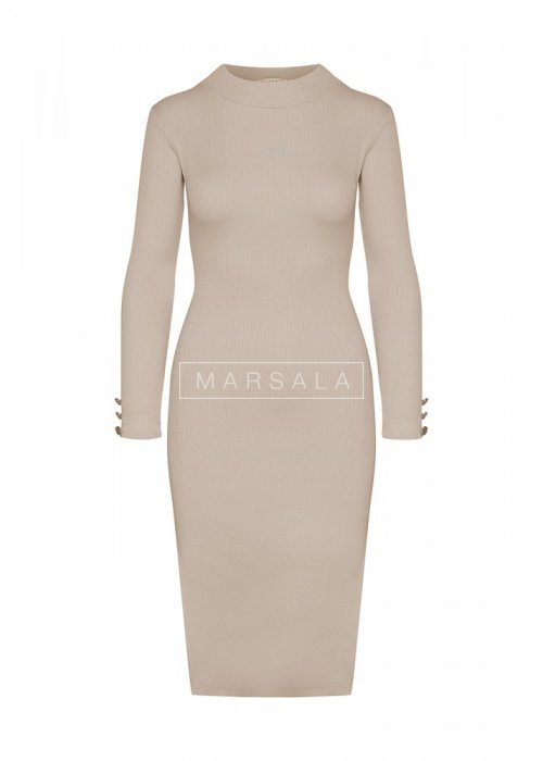 Beige long sleeved dress - GOLD BY MARSALA