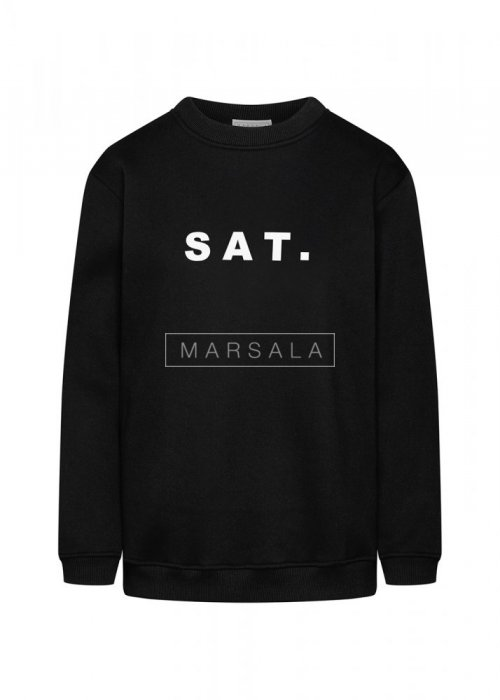 Black sweatshirt with SAT print. BY MARSALA