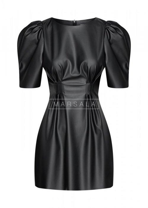 Sukienka z bufkami z eko skóry - ADELIE BY MARSALA