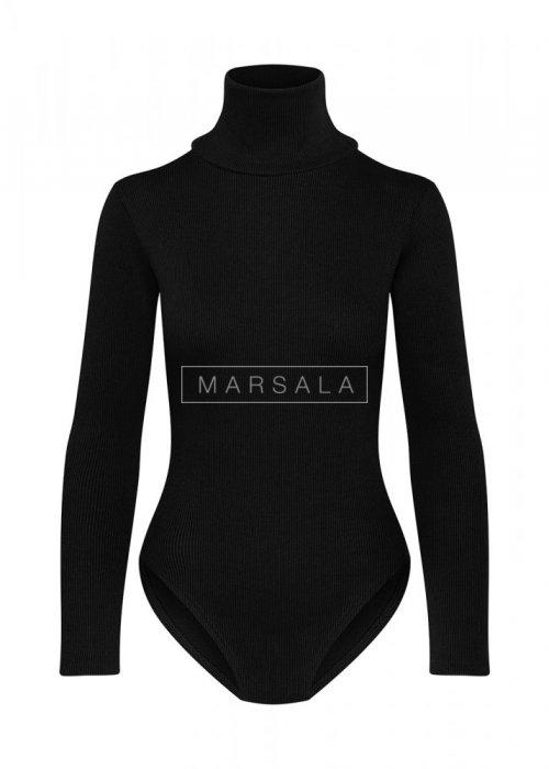 Body prążkowane z długim rękawem kolor czarny -PERFECT BODY BY MARSALA